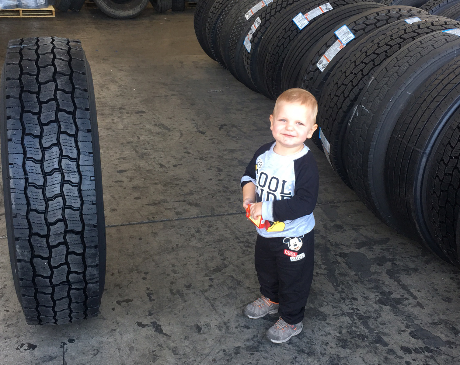 Baby James with Tires